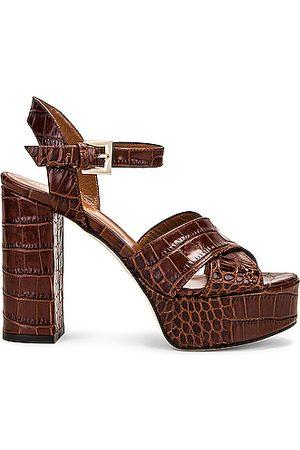 PARIS TEXAS Moc Croco Platform Sandal in