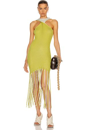 Bottega Veneta Halter Twist Fringe Dress in Acid & Optic