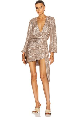 JONATHAN SIMKHAI Roxi Sequin Wrap Dress in Fawn