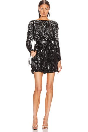 Saint Laurent Long Sleeve Dress in Noir & Gray &