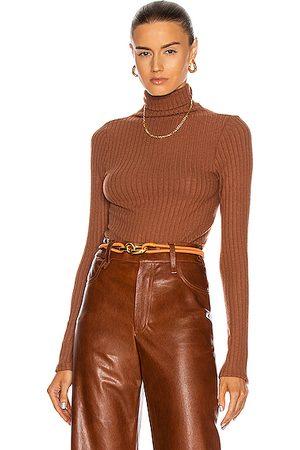 ENZA COSTA Sweater Rib Split Sleeve Fitted Turtleneck Top in Hazel