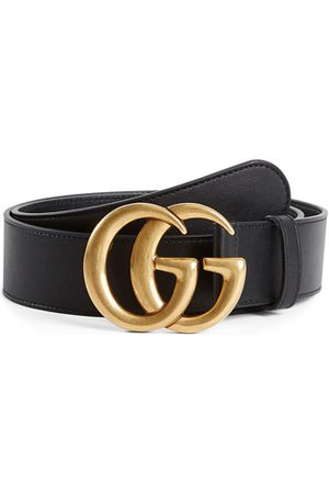 Gucci Leather Belt With Double G Buckle In Nero in Nero
