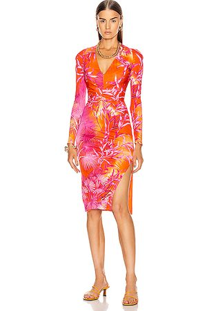 VERSACE Palms Long Sleeve Midi Dress in Fuchsia &