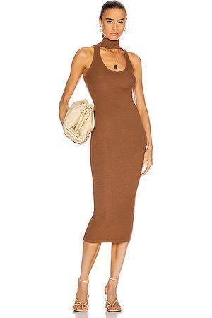 ENZA COSTA Silk Rib Detached Mockneck Sleeveless Midi Dress in