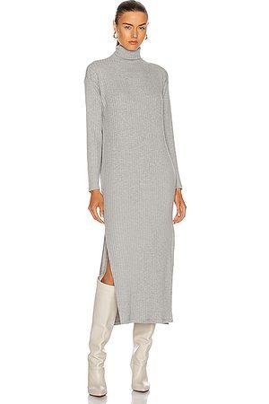 ENZA COSTA Women Turtlenecks - Sweater Rib Turtleneck Sheath Dress in Heather