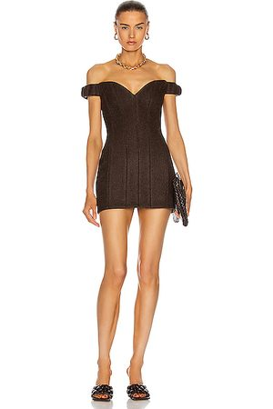 LAQUAN SMITH Michelle Off Shoulder Mini Dress in Chocolate