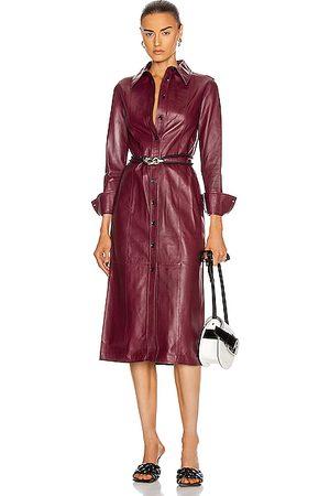 Proenza Schouler Leather Shirt Dress in Bordeaux