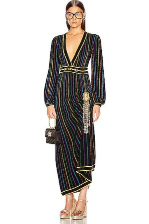 Gucci Long Sleeve V Neck Dress in & Multicolor
