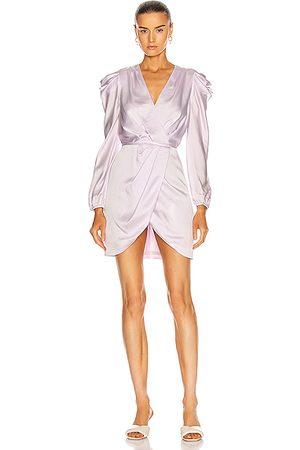 JONATHAN SIMKHAI Jan Satin Ruched Mini Dress in Lilac