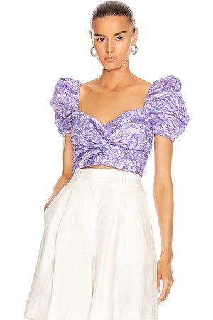 BROGNANO Women Crop Tops - Printed Puff Sleeve Crop Top in