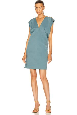 Givenchy Women Sleeveless Dresses - Button Sleeveless Draped Dress in