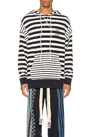 Loewe Men Hoodies - Stripe Hoodie in Ecru & Navy