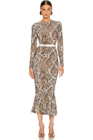 Norma Kamali Women Printed Dresses - Crew Fishtail Dress in Scale Python