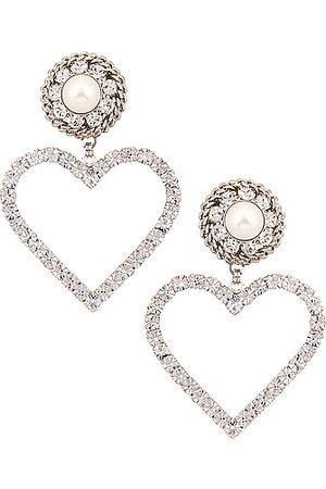 Alessandra Rich Crystal Heart Earrings with Pearl Clip in