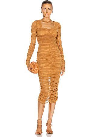 JONATHAN SIMKHAI STANDARD Long Sleeved Ruched Midi Dress in Cinnamon