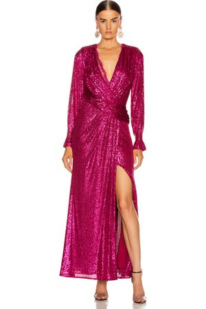 JONATHAN SIMKHAI Sequin Draped Front Gown in Magenta Combo