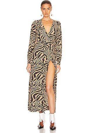 Ganni Printed Crepe Dress in Tannin