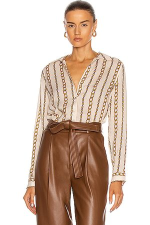 L'Agence Holly Long Sleeve Blouse in Ivory & Large Chain