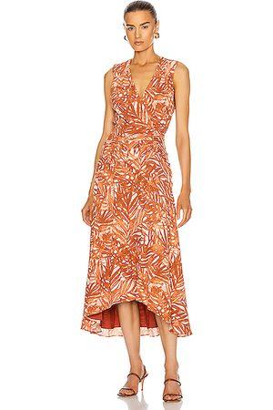 JONATHAN SIMKHAI Women Midi Dresses - Priscilla Sleeveless Ruched Midi Dress in Toffee Palm