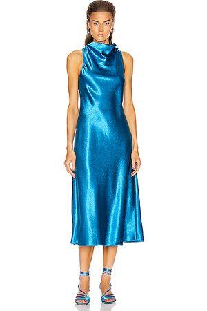 Sies marjan Women Sleeveless Dresses - Andy Glossy Satin Cowl Neck Bias Dress in Sapphire
