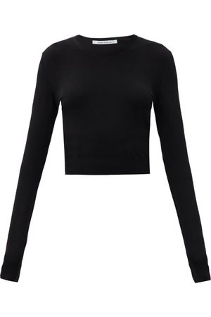 Another Tomorrow Long-sleeved Knitted Cropped Top - Womens