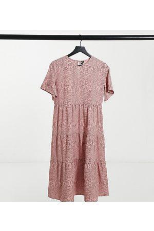 Influence Petite Shirred tiered midi dress in dusky pink polka dot-Multi