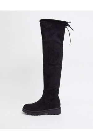 New Look Chunky sole knee high boots in black