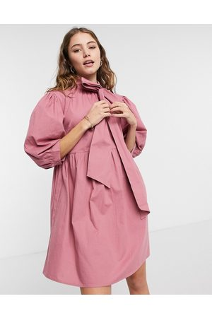 Influence Bow neck mini smock dress in pink