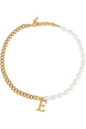 Martha Calvo Pearl + Chain Initial Necklace in .