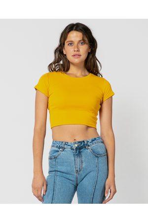 ONEBYONE Women Crop Tops - Classic Crop Tee - T-Shirts & Singlets (Mustard) Classic Crop Tee