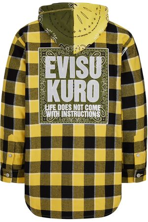 Evisu Men Winter Jackets - Detachable Bandana Hood Padded Flannel Shirt Jacket
