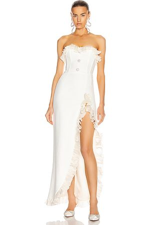 Alessandra Rich Women Strapless Dresses - Strapless Dress With Ruffle Trim in