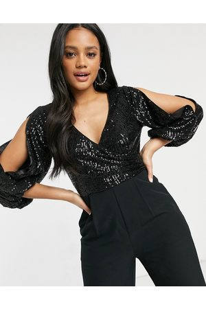 Forever New Embellished jumpsuit with plunge neck and open sleeve in black