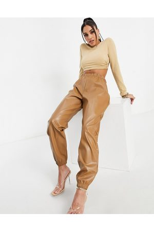I saw it first Faux leather trackies in camel-Tan