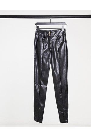 Girl in Mind Faux leather split front pants in black