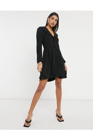 Vila Button through dress with embroidered collar in black