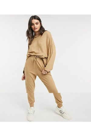 ASOS Tracksuit oversized hoodie / trackies in supersoft in camel-Stone