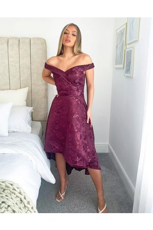 Chi Chi London Bardot high low midi dress in berry-Red