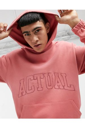 ASOS Actual Co-ord oversized hoodie in faded rose wash with embroidered logo-Pink