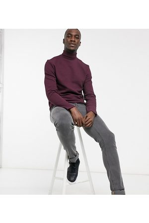 ASOS Tall long sleeve t-shirt with roll neck in burgundy textured fabric