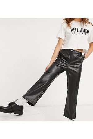 Reclaimed Vintage Inspired high-waist leather-look flared pants in black