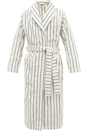 Tekla Striped Hooded Organic-cotton Terry Bathrobe - Mens - Cream