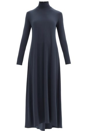 Norma Kamali Swing Roll-neck Flared Longline Jersey Dress - Womens - Dark