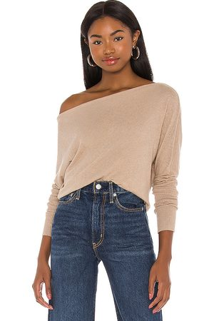 ENZA COSTA Cashmere Cuffed Off Shoulder Long Sleeve Top in .