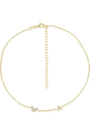 Adina's Jewels Pave Butterfly Initial Choker in .
