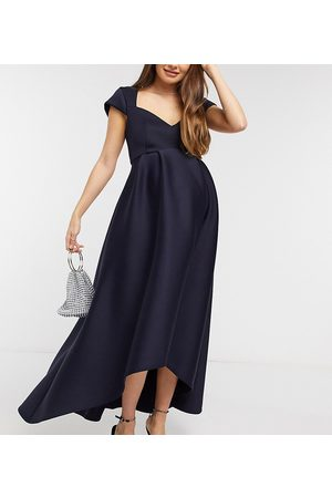 True Violet Maternity Women Dresses - Cap sleeve sweetheart high low prom midaxi dress in navy