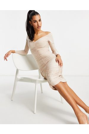 Club L Sweetheart neck all over ruched midi pencil dress in mushroom-Grey