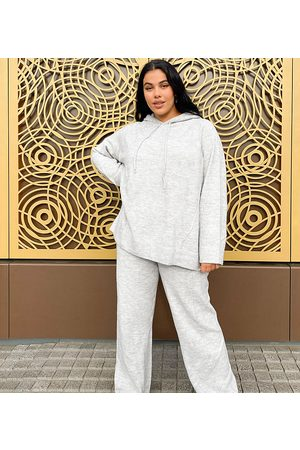 ASOS ASOS DESIGN Curve co-ord oversized knitted hoodie in grey marle