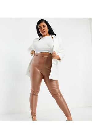 Yours Faux leather leggings in stone