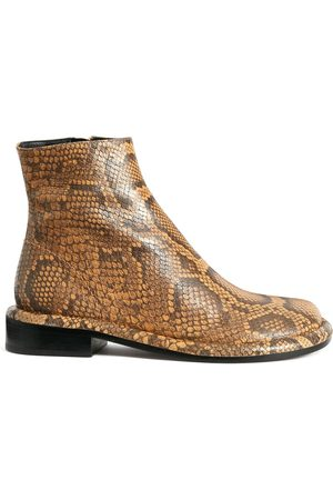 Proenza Schouler Snakeskin-effect round-toe ankle boots